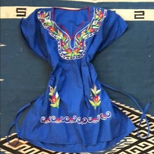 Blue Embroidered Mexican Dress